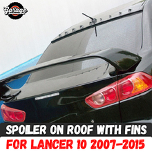 ספוילר על גג עם סנפירי עבור מיצובישי לנסר 10 2007 2015 ABS פלסטיק חופה aero כנף דפוס קישוט רכב כוונון סטיילינג