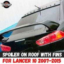 Spoiler na dachu z płetwami do Mitsubishi Lancer 10 2007 2015 ABS plastikowy baldachim aero wing dekoracja do formowania car tuning styling