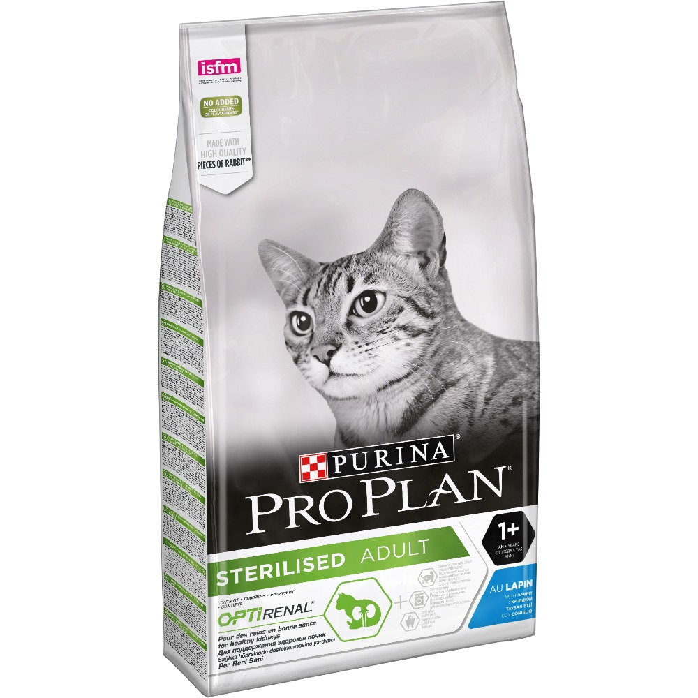 Dry food Pro Plan for sterilised cats and neutered cats, with rabbit, Package, 10 kg pro plan dry food for sterilised cats and neutered cats to maintain the sense organs with salmon package 3 kg x 4 pcs