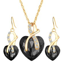 New Fashion 3 Pieces/ Set Crystal Heart Necklaces Earrings With Stones For Women High Quality Jewelry Set