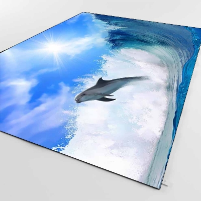 Else Sea Waves Dolphin Jumping Landscapes 3d Print Non Slip Microfiber Living Room Decorative Modern Washable Area Rug Mat