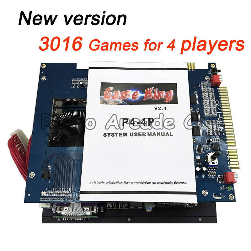 Le plus récent jeu roi 2019 en 1 upgarde à 3016 en 1 multi-game board jeux classiques SSD/HDD PCB pour arcade 4 joueurs machine de jeu