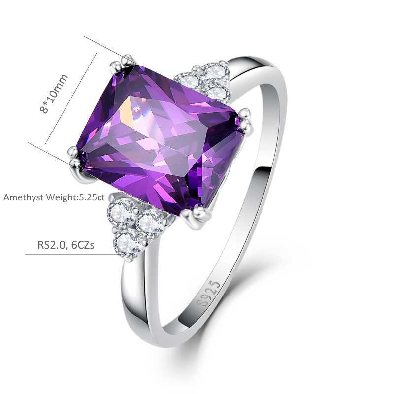 UTB8ei4GmOaMiuJk43PTq6ySmXXaB BONLAVI 5.25ct 8*10mm Amethyst Brand Jewelry Ladies 925 Sterling Silver Square Rings High Quality Engagement Ring Size 5-10