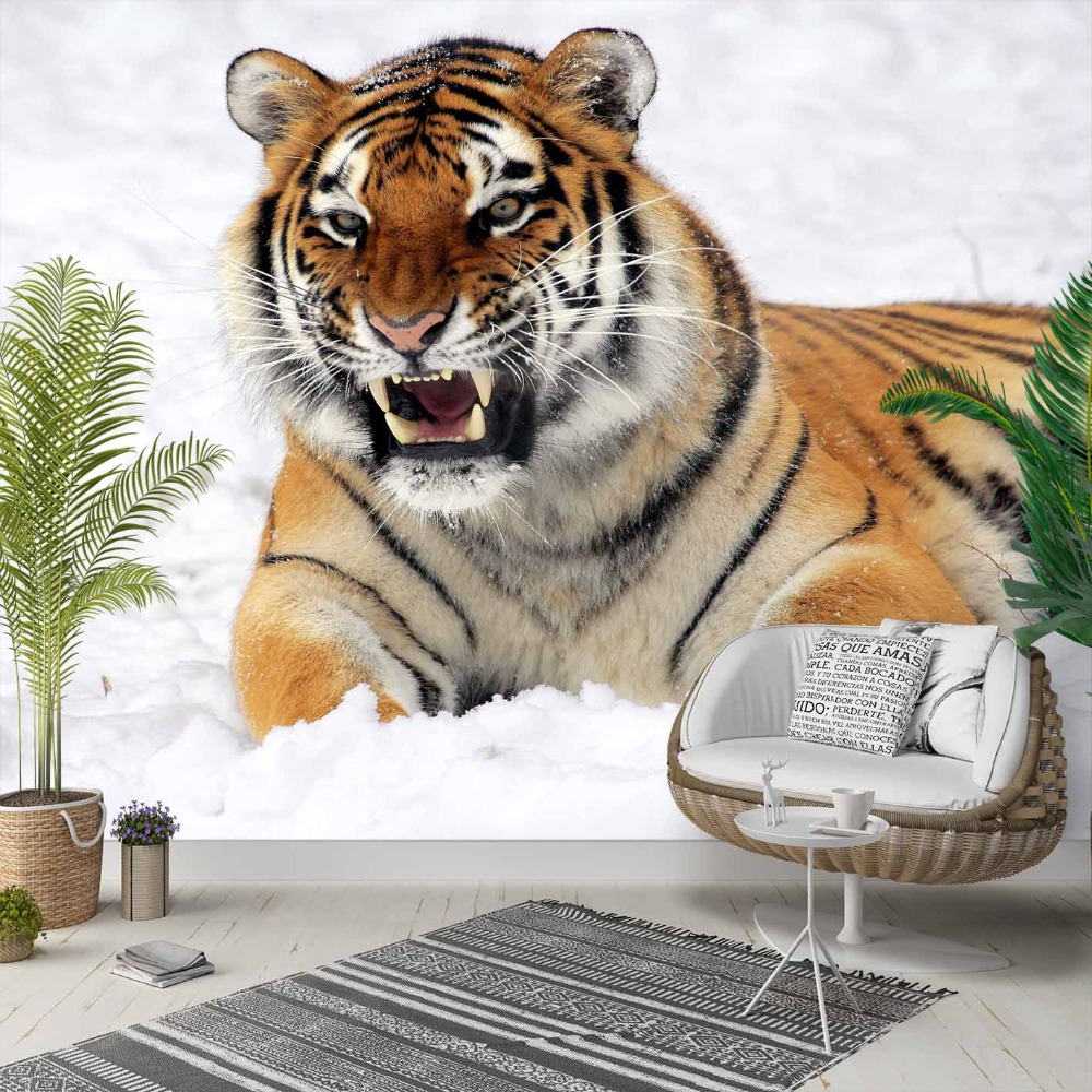 Else White Snow Brown Black Lines Wild Tiger 3d Photo Cleanable Fabric Mural Home Decor Living Room Bedroom Background Wallpaper