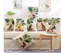 Flower Pillow Case Green Decorative Cushion Cover Home Decor Floral Kids Chair Pillow Cover Decoration Pillowcase