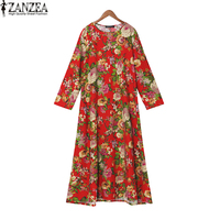 ZANZEA Women Vintage Floral Round Neck Full Sleeve Tunic Loose Baggy Kaftan Robe Party Maxi Long
