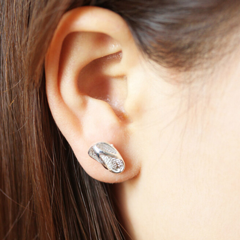 Simple Fashion Style Silver Color Slipper Stud Earrings Women s Fashionable Brand font b Jewelry b