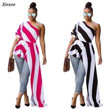 цена на 2018 Women Fashion Summer Stripe Slash Neck One Shoulder Puff Sleeve Asymmetric Hem Slim Tops Blouse Xnxee