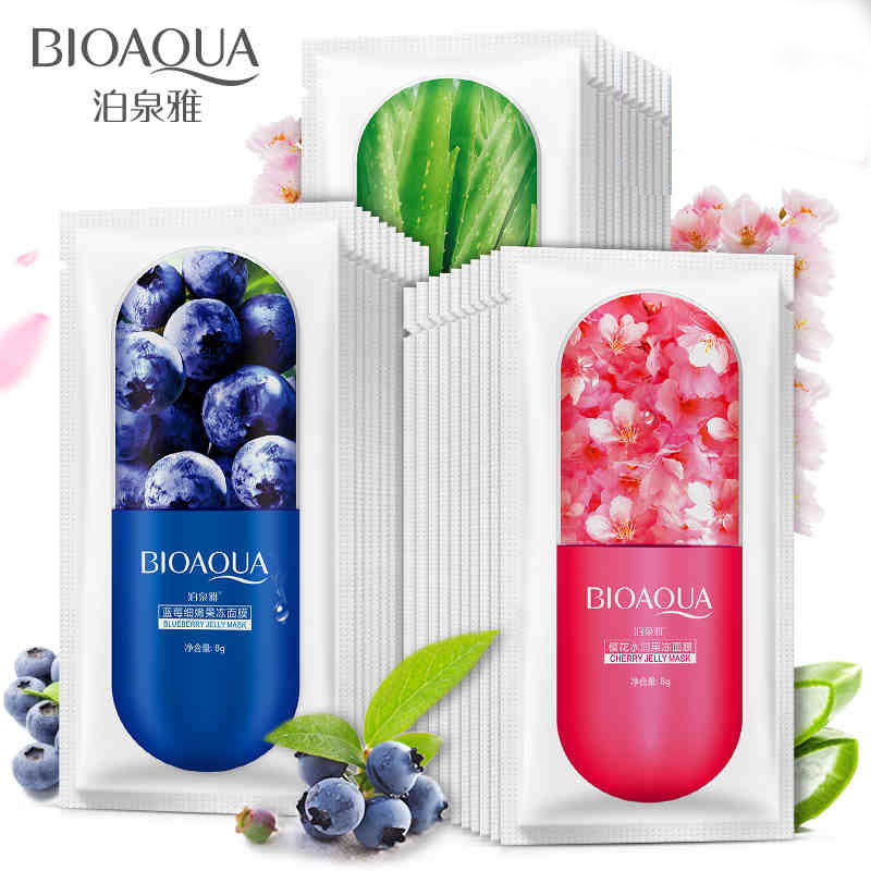 10Pcs BIOAQUA Blueberry Cherry Aloe Wrapped Jelly Face Mask Whitening Oil-control Anti-Wrinkle Deep Moisturize Facial Mask Set