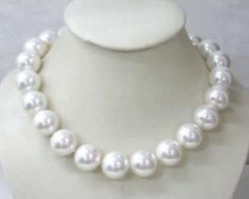 Magnifique collier de perles en coquillage blanc AAA 18mm 18