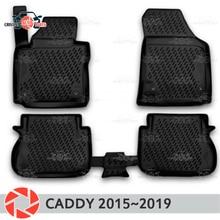 Коврики для Volkswagen Caddy 2015 ~ 2019 ковры Нескользящие полиуретановые грязи защиты интерьер автомобиля средства укладки волос