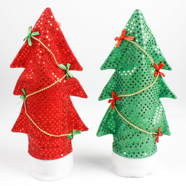 christmas gifts diy xmas tree wine bottle cover bags kitchen tables decoration christmas stocking holder bar - Decorative Christmas Stocking Holders