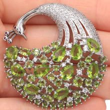 SheCrown New Arrival Peacock 14.1g Green Peridot White CZ Ladies Gift Silver Brooch 43x42mm