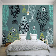 Modern minimalist hand-painted fish wallpaper manufacturers wholesale mural custom photo wall