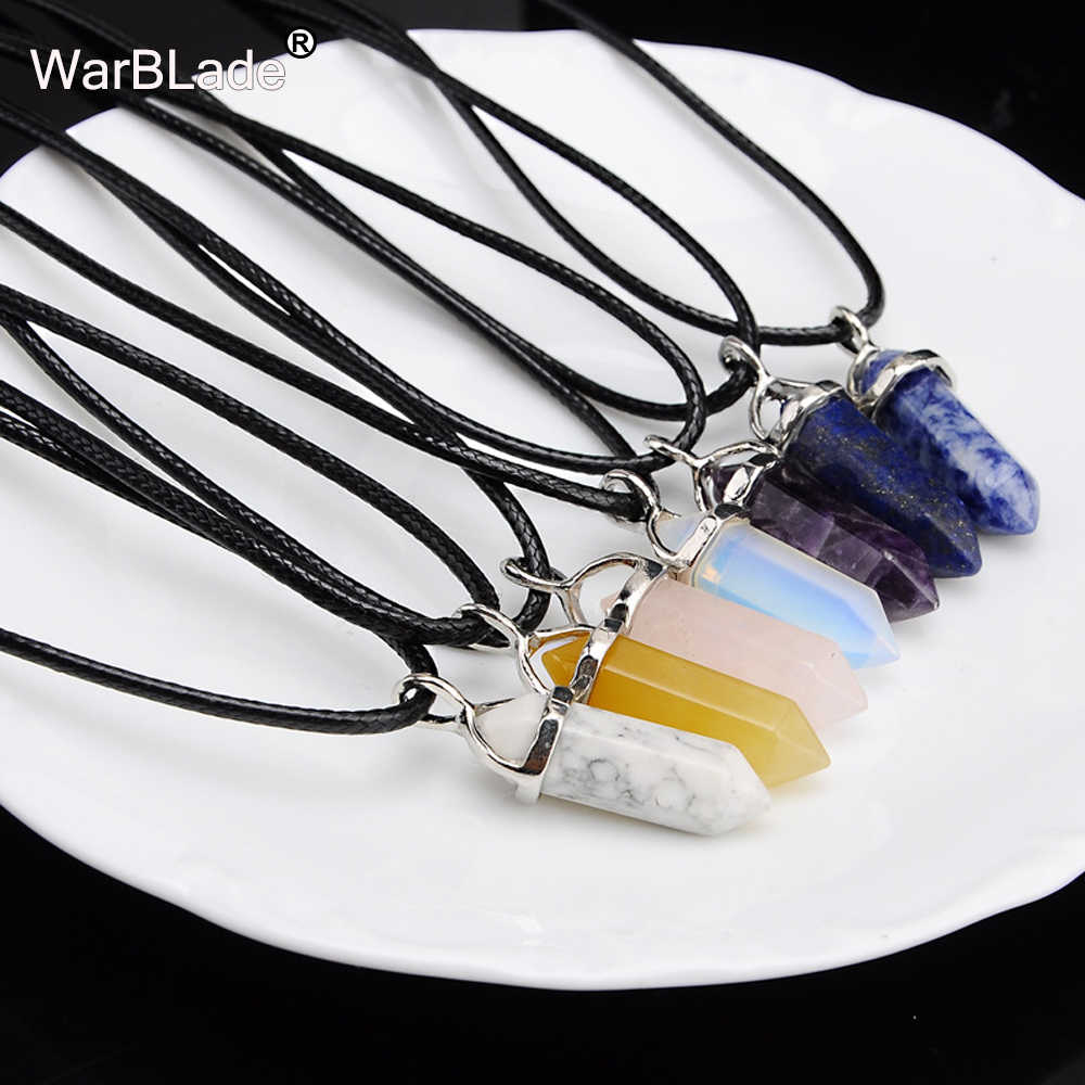 WarBLade New Natural Stone Mặt Dây Chuyền Opal Cột Hình Lục Giác Gem Stone Pendant Pha Lê Choker Da Vòng Cổ Cho Phụ Nữ