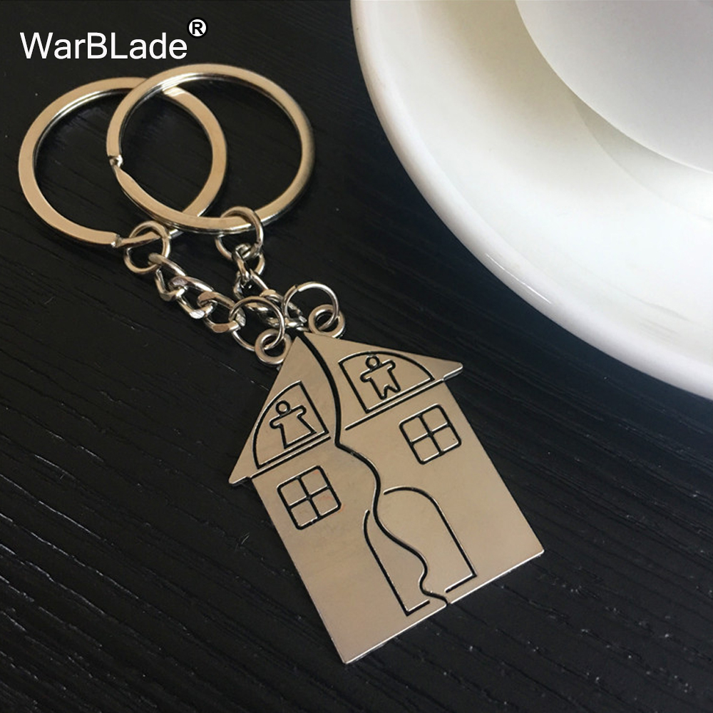 WarBLade New Trendy Hot Sale Wedding house Love Keyrings Key Chains Lovers Ring Couples keychain Jewelry Valentines Gift
