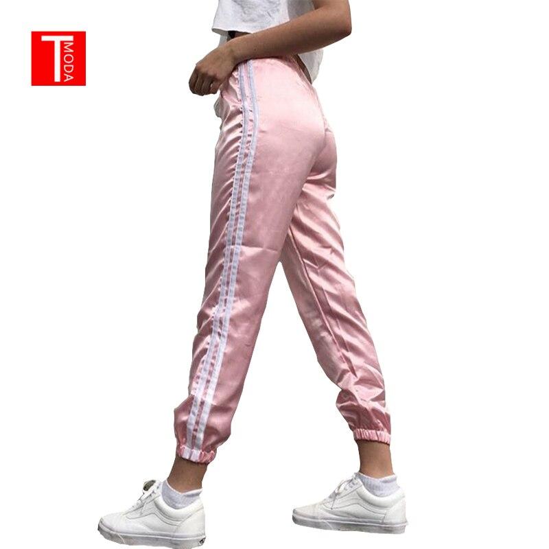 2018 Primavera Verano mujeres de ocio pantalones casuales Multicolor blanco Retro rayas lado cerrado cómodo pantalones de chándal Mujer