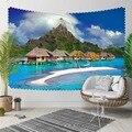 Else тропический остров синие морские дома горы 3D печать декоративный хиппи богемный настенный гобелен с пейзажем настенное искусство