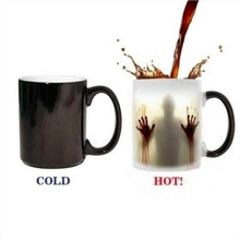 1pc Horror Coffee Mugs change Colour Changing Heat Sensitive Ceramic Coffee Surprise Gifts Magic Tea Cup mugs walking dead baldr earth mark cup tetris the heat change thermal color mugs