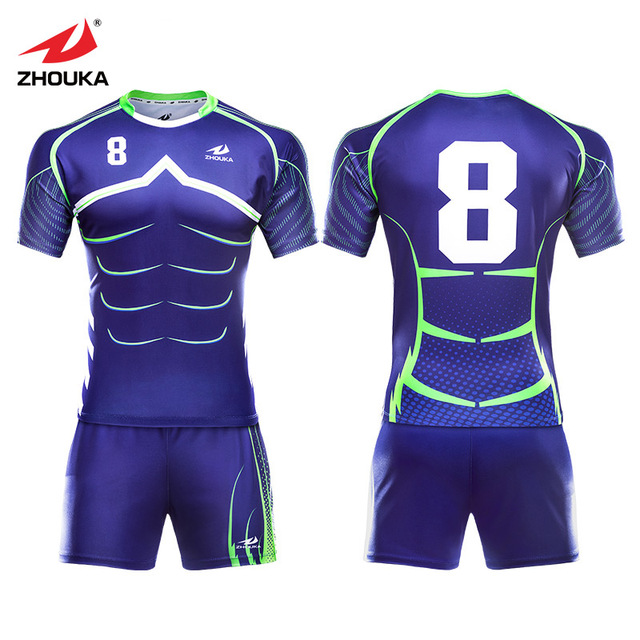 60e62d5cfb0 High Quality sublimation Custom blue sport wear rugby uniforms men s OEM  rugby kits rugby shirts jersey