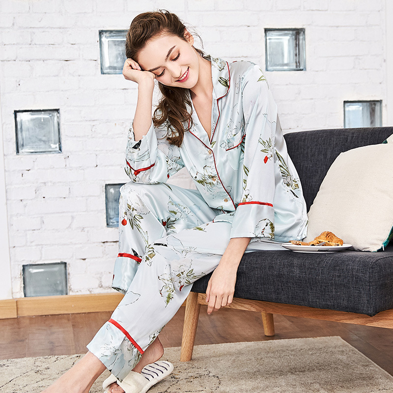 SSH0114 2018 New Spring Autumn Women   Pajama     Sets   High Quality Satin Silk   Pajamas   for Women Female 2 Pieces   Sets   Nightwear Pijama