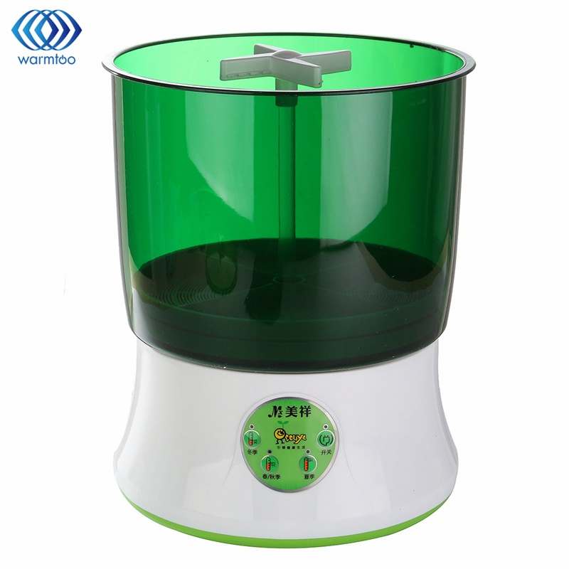 Bean Sprout Machine Household Fully Automatic Double-Deck Thermostat Green Seeds Grow Automatic Bean Sprouts US Plug bean sprout machine germination intelligence home double layer nursery pots automatic bean sprouts machine kitchen electrical