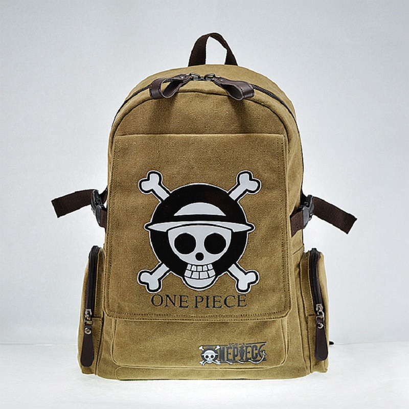 Teenager Canvas Rucksack Anime ONE PIECE Backpack Children's School Bag Skull Printing Bag With Front Flap Cover Pocket Design