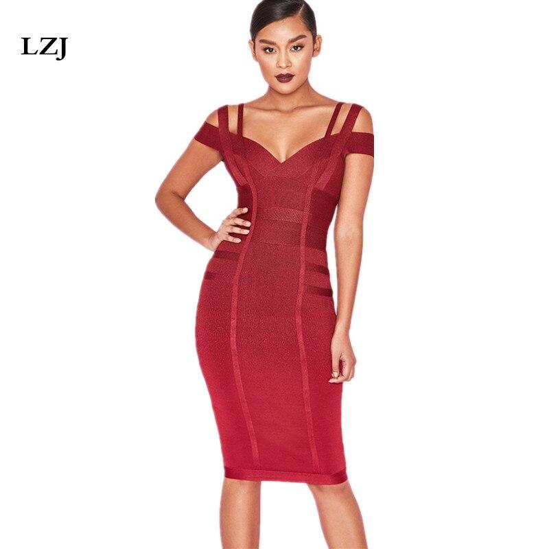 LZJ femmes moulante robe 2018 été Sexy Bandage hors épaule Sexy haute qualité vin rouge Bandage robe rayonne fête vestidos
