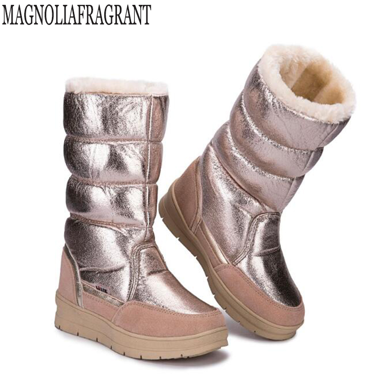 Black High female shoes Winter Warm Boots Woman Snow Boots top quality 2018 new styles of lady shoe Plus big Size Women's boots 2017 female warm snow boots large size 41 cotton winter shoe for woman soft comfortable outdoor footwear high quality