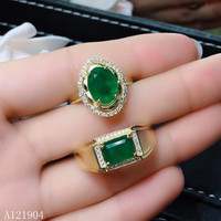 KJJEAXCMY boutique jewelry 925 sterling silver inlaid natural emerald gemstone couple ring support test