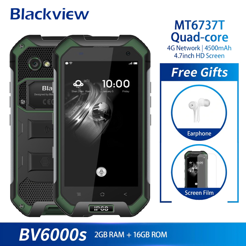 Blackview BV6000S Telefone Móvel Android 6.0G + 16 MTK6737 Quad Core 2 GB 13MP IP68 Polegada 4 À Prova D' Água 4.7G LTE NFC Smartphones 4500mAh