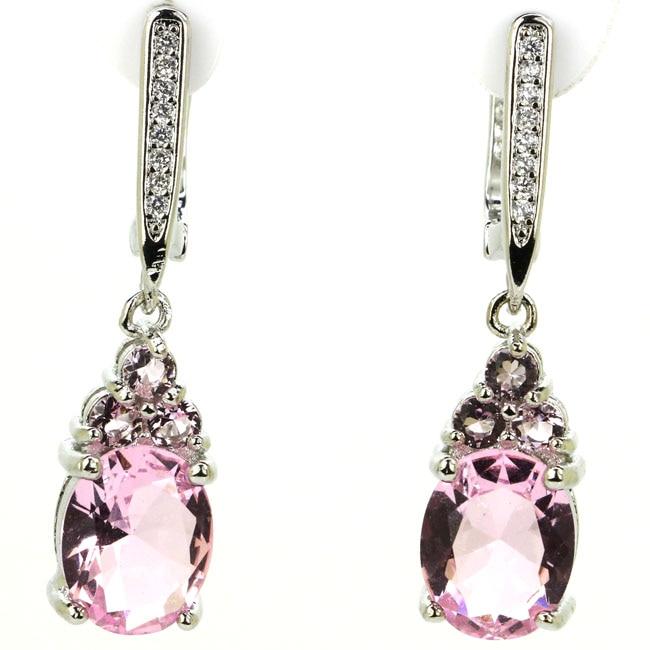 Romantic Drop Shape Pink Kunzite White CZ Woman's 925 Silver Earrings 32x8mm
