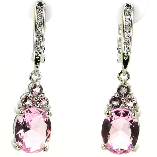 Romantic Drop Shape Pink Kunzite White CZ Woman's 925 Silver Earrings 32x8mm