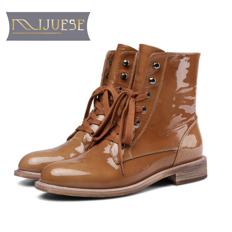 MLJUESE 2019 women ankle boots patent leather lace up camel color round toe autumn spring low heel boots women martin boots цена 2017