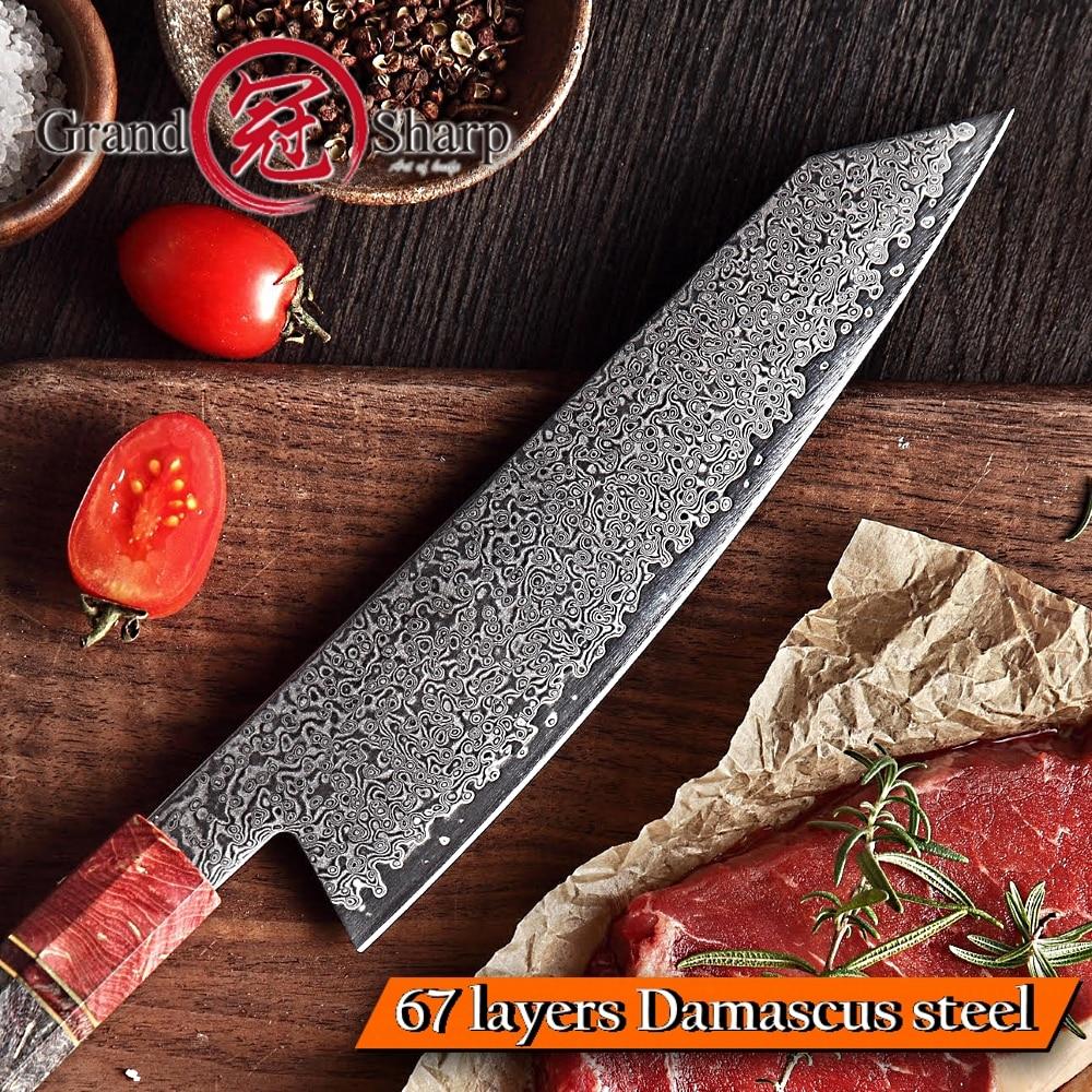 요리사 칼 vg10 다마스커스 강철 일본 부엌 칼 자주색 손잡이 kiritsuke 칼 새로운 작풍 요리 부속품 가정 공구 조각-에서주방 칼부터 홈 & 가든 의  그룹 2