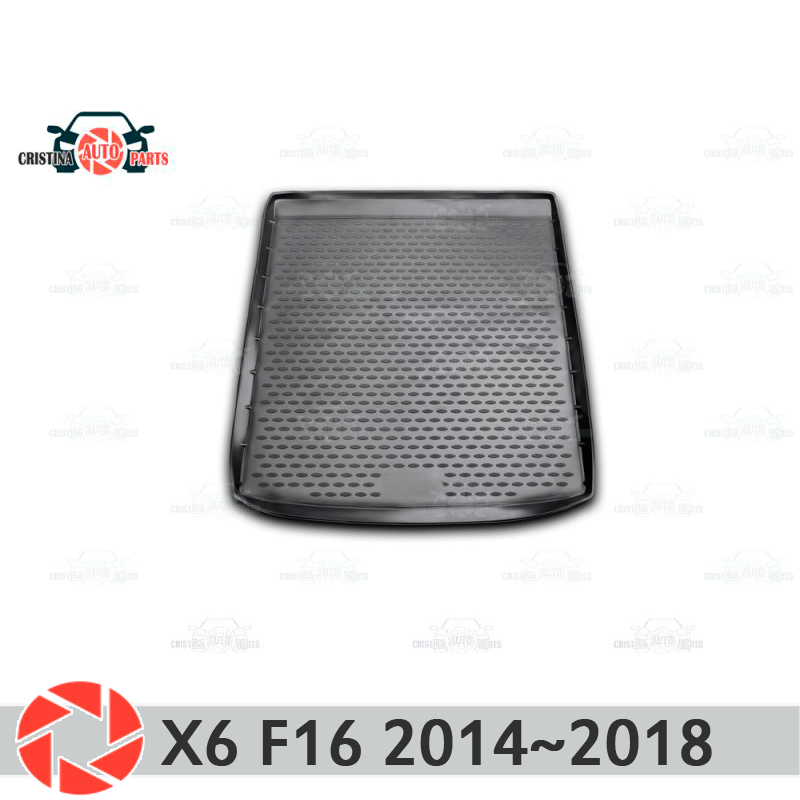 Trunk mat for BMW X6 F16 2014-2018 trunk floor rugs non slip polyurethane dirt protection interior trunk car styling for bmw x6 2008 2014 black car trunk mat without adaptive mounting system element nlc0518b12
