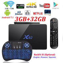 [Genuine] X92 2GB/3GB 16GB/32GB Android 7.1 TV Box Amlogic S912 Octa Core KD16.1 2.4/5Ghz Wifi 4K Smart Media player Set top box(China)