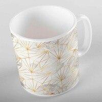 Anders Wit Grijs Wolken Gouden Gele Lijnen Geometrische 3d Print Gift Keramische Drinkwater Thee Beer Koffiekopje Mok Keuken