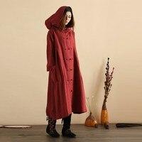 Tops Blusas ZANZEA Women Hooded Buttons Open Casual Loose Long Dress Winter Spring Oversized Pockets Cotton