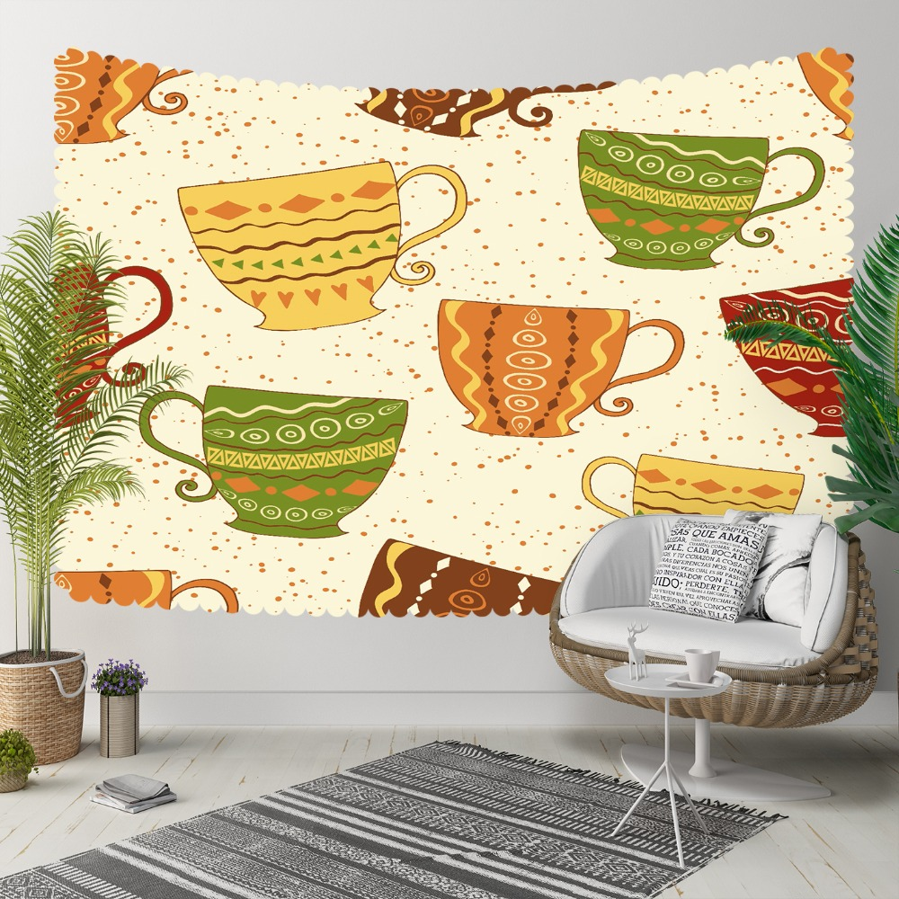 Else Cream Floor Brown Green Yellow Tea Cups Ethnic 3D Print Decorative Hippi Bohemian Wall Hanging Landscape Tapestry Wall Art