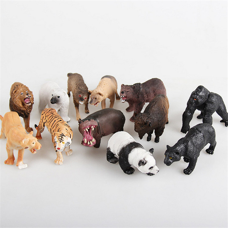 12pcs Simulated Forest Small Animal Child Static Plastic Tiger Lion Panda Set Wild Animal Model Set Toys smilodon tiger lion polar bear cheetah eagle classic toys for boys ferocious beast movable animal small size without box