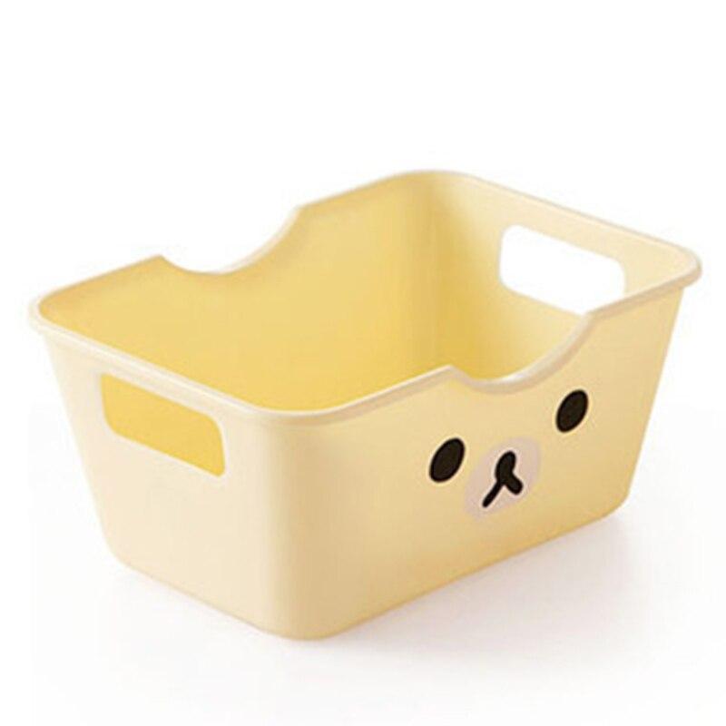 Cartoon printing plastic desktop storage organizer case grocery storage box kitchen items storage basket Multipurpose