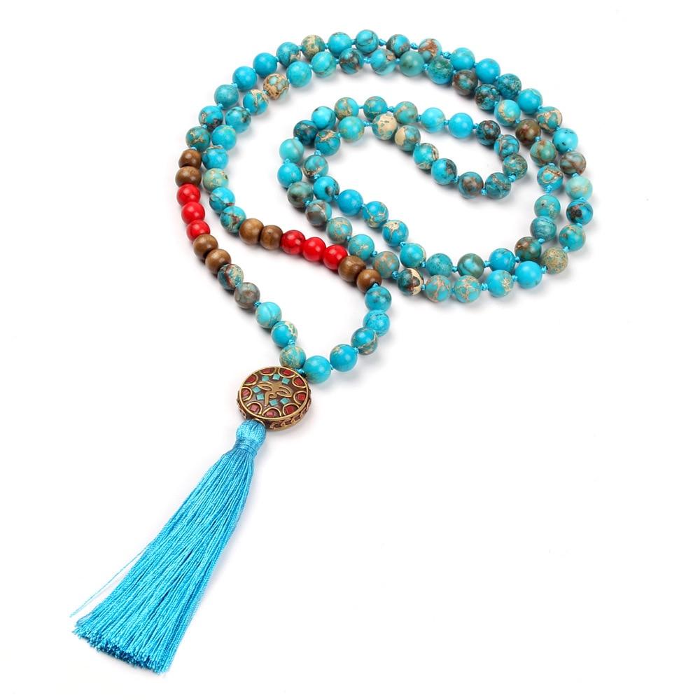 1fd97f3bb94a Cheap Nuevo imperial azul nudo collar Retro Nepal colgante largo borlas  collar joyería hecha a mano