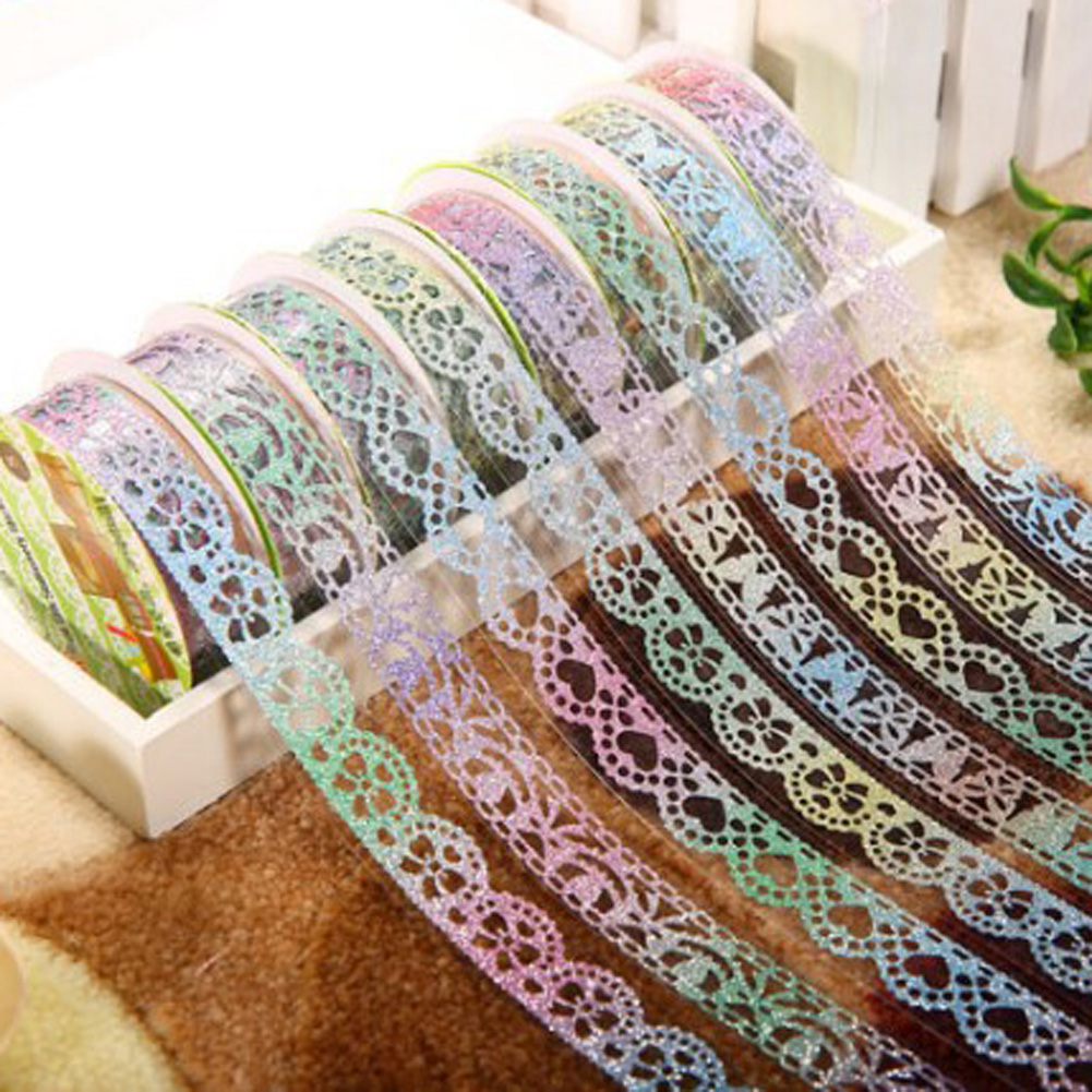 1 Pcs Glittery Lace Tape Novelty Decorative Masking Tapes DIY Sticker Scrapbooking Tools Stationery School Supplies Color Random
