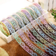1 Pcs Glittery Lace Tape Novelty Decorative Masking Tapes DIY Sticker Scrapbooking Tools Stationery School Supplies Color Random(China)