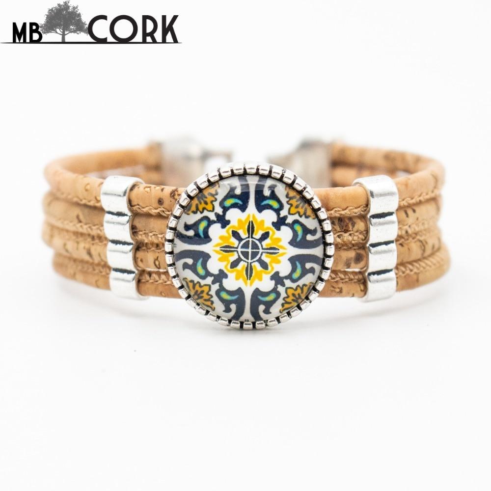 Cork Jewelry: Natural Cork Bracelet Portugal Traditional Ceramic Tile