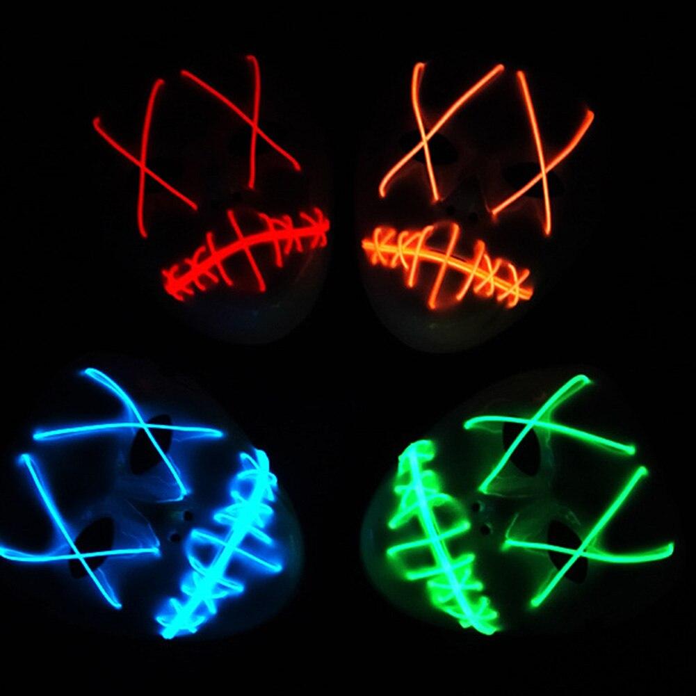1 unidades fantasma de Halloween slit boca hasta luz brillante LED lindo moda máscara Cosplay traje para la fiesta