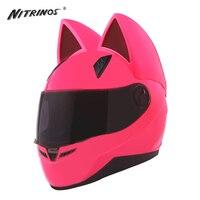 NITRINOS Motorcycle Helmet Women Racing Motorbike Helmet Horns Cat Helmet Full Face Casque Casco Moto Helmet