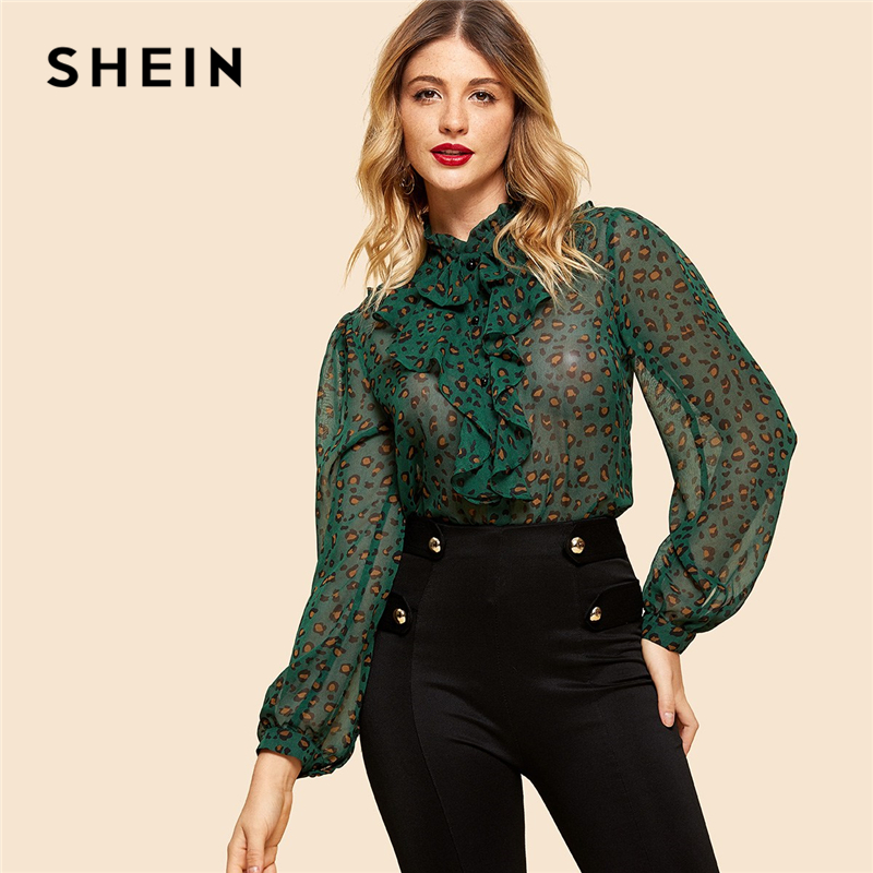 SHEIN Green Button Up Leopard Print Shirt 2018 New Stand Collar Weekend Casual Women Vintage Ruffle Modern Lady Blouses Купальник