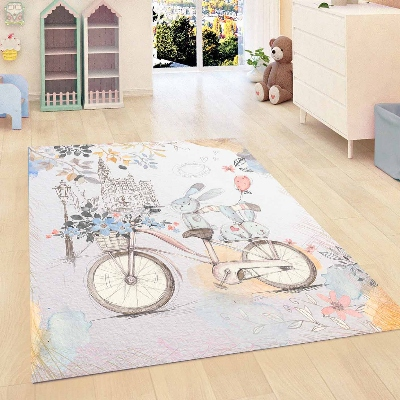 Else Blue Vintage Retro Blue Bike Kids Room 3d Print Non Slip Microfiber Children Kids Room Decorative Area Rug Mat